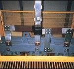 Particolare di connessione blindo sbarra ventilato 1500A 400V lato trasformatore.